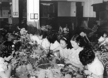 a plastic flower factory in the 60's